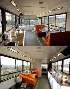Run Down City Bus Converted To Chic Customized DIY RV converted city bus house interior design ideas Decor Photo Motor Casa, Motorhome, School Bus House, Converted Bus, Rv Bus, Bus Living, Living Room, School Bus Conversion, Diy Rv