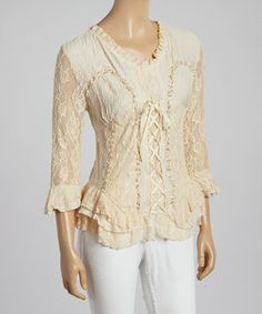 Love this Caramel Lace-Up V-Neck Silk-Blend Top by Pretty Angel on #zulily! #zulilyfinds