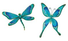 Regal Art & Gift Watercolor Dragonfly and Butterfly Metal Glass Wall Decor Close Up Pictures, Pictures To Paint, Painting Lessons, Art Lessons, Butterfly Wall Decor, Butterfly Mobile, Dragonfly Art, Fused Glass Art, Stained Glass Patterns
