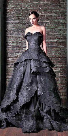Black Wedding Dresses Ideas For Fashion Forward Brides ❤ See more: http://www.weddingforward.stfi.re/black-wedding-dresses/ #weddings