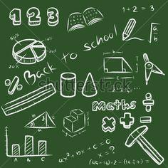 σύνολο των μαθηματικών σύμβολο και εξοπλισμού. θέμα μαθηματικά στο σχολείο / φορέα κινουμένων σχεδίων και απεικόνιση, λευκό ευθυγραμμισμένο σκίτσο, κιμωλία στυλ, απομονώνονται σε πράσινο φόντο