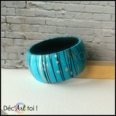 Handpainted wooden bracelet turquoise / black / by DecArttoi