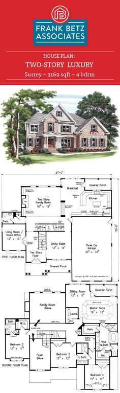 4 bdrm, Luxury house plan design by Frank Betz Associates Inc. Frank Betz, Surrey, Kitchen Family Rooms, Luxury House Plans, Space Interiors, Home Design Plans, House Floor Plans, Shabby Chic Decor, Second Floor