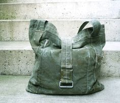 Tote Bag - Recycled Army Canvas.