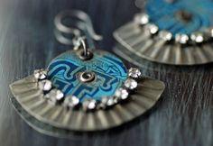 Vintage Tin and Steel Earrings Rhinestones by EntwyneDesigns