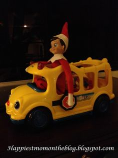 Elf on the Shelf, Jackson, likes to drive the School Bus..