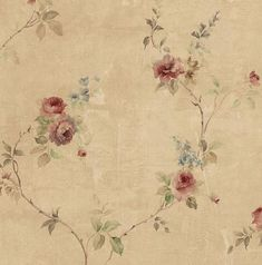 Distressed Victorian Tea Rose Wallpaper, Vintage French Farmhouse, Old Tan Faux Plaster, Shabby Chic Antique Floral – 12x9