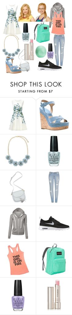 """""""Liv and Maddie inspired outfits"""" by alex2115 ❤ liked on Polyvore featuring ERIN Erin Fetherston, Michael Kors, OPI, NIKE, Disney, JanSport, By Terry and Eos"""
