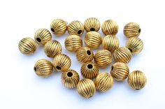 10 pcs Antiqued Gold  Corrugated Metal Beads by TGLineSupplies