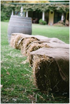 40+ Hessian Wedding Ideas - create rustic outdoor relaxed seating with hay bales covered in hessian fabric #weddingideas #hessianwedding #rusticweddingideas