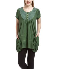 Look what I found on #zulily! Green Lace Yoke Tunic #zulilyfinds