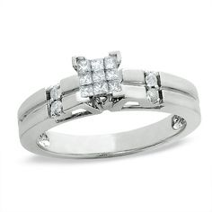1/5 CT. T.W. Princess-Cut Diamond Engagement Ring in 10K White Gold