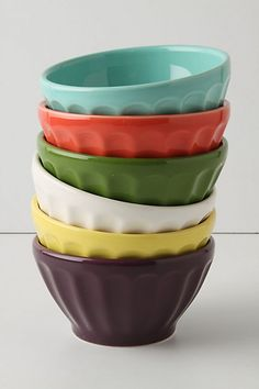These are only sold in multi-colored sets online, but in store you can buy individual bowls. Of course I bought several of the light blue bowls! Easy to eat soup, cereal, rice, noodles, etc. with them!