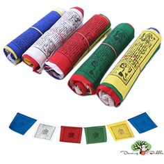 Dancing Buddha Buddhist Prayer Flags - Pack of 50 indoor outdoor flags 10 Strings of Elemental Prayer Flags. Earth - Air- Fire- Water - Sky - x Dharamsala, Air Fire, Buddhist Prayer, Outdoor Flags, Indoor Outdoor, Words Of Comfort, Prayer Flags, Tree Tops, Garden Flags