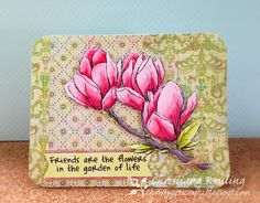 """Christy Gets Crafty: using Sheena's A Little Bit Floral """"Magnolia Blossom"""" by Crafter's Companion, Spectrum Noir"""