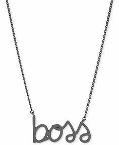 "BCBGeneration Hematite-Tone ""Boss"" Pendant Necklace"