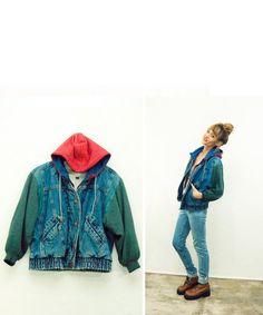 90s Denim Jacket + Hoody + Sweatshirt + Coat / Grunge Jean Cropped Jacket / crop coat / Denim / 1990s Grunge / well worn / distressed