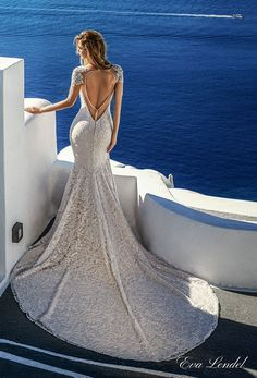 eva lendel 2017 bridal cape sleeves deep plunging sweetheart necklin full embellishment elegant sexy glamorous fit and flare sheath wedding dress keyhole back royal train (bler) bv