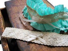Wedding Garter Ruffled In Turquoise Set By MyThreeAunts 2695