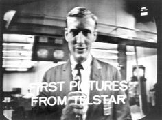 """Fred Kappel, Chairman of AT speaks to a trans-Atlantic audience during the first live TV transmission by the Telstar 1 satellite, 1962. (Credit: Science Museum, London) Mona Evans, """"Telstar - Herald of the Modern Age"""" http://www.bellaonline.com/articles"""