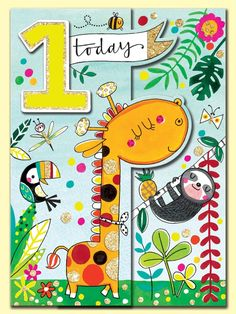 Happy 1st Birthday Giraffe, sloth and toucan greeting card by Rachel Ellen Designs