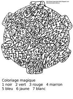 Coloriage magique représentant un dragon et son château