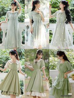 Korean Fashion Dress, Kpop Fashion Outfits, Asian Fashion, Fashion Dresses, Modest Dresses, Cute Dresses, Vintage Dresses, Fairytale Fashion, Aesthetic Fashion