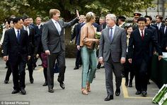 Queen Maxima and King Willem-Alexander visited the Sino-Dutch Diary Development Center on October 25, 2015 in Beijing, China.