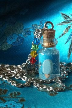 Kingdom Hearts Tiny Sea Salt Ice Cream in a Bottle Charm Necklace on Etsy, $10.00