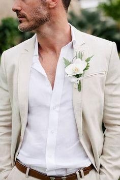 Casual wedding groom, casual groom attire, beach wedding attire for Beach Wedding Groom Attire, Beach Groom, Tan Suits For Wedding, Mens Casual Wedding Attire, Beach Wedding Boutonniere, Linen Wedding Suit, Men Casual, Wedding Outfits, White Casual