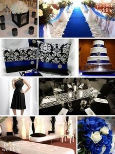 Black white and blue wedding.