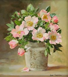 "A ""Briar Roses, oil on board, by Anne Cotterill at Thompson's Gallery"", ""Ahmet krtl - \""Wild Roses in a Confectioner's Jar\"" by Anne Cotterill ."