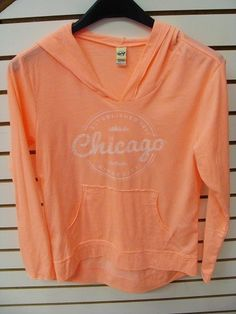 02ab09c04544 Chicago Peach Long Sleeve Hodded T-shirt  Chicago Gift Shop