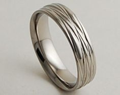 14k White Gold Wave Wedding Band Comfort Fit 5mm by LaMoreDesign