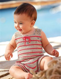 Bergere de France Babies Knitting Patterns Playsuit with Lacy Back Pattern
