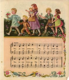 """Lovely """"Jesus Loves Me"""" Vintage Hymns and Illustrations  - Dates 1940's Christian Song Lyrics, Christian Music, Praise Songs, Praise And Worship, Church Music, Church Songs, School Songs, Love Truths, Music Lyrics"""