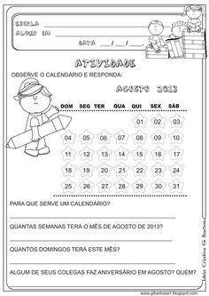 Lipitipi- Atividades e Projetos Fundamental I: Atividade Sondagem Calendário 1° e 2° ano