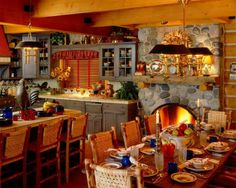 Log Home Country Kitchen Stone Fireplace Hearth Open Beam Ceiling