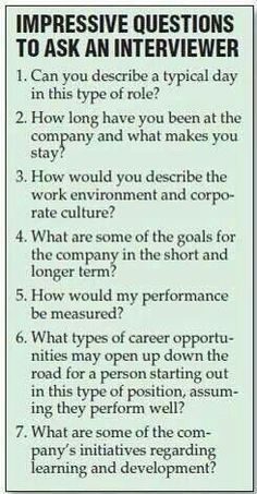 Questions to keep in mind for interviews.