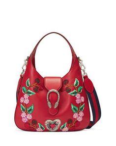 L6F0V Gucci Dionysus Medium Embroidered-Flowers Hobo Bag, Red/Multi