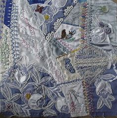 I ❤ crazy quilting . I am making a quilt for my… Crazy Quilt Stitches, Crazy Quilt Blocks, Crazy Quilting, Quilting Projects, Quilting Designs, Quilting Ideas, Wedding Dress Quilt, Embroidery Stitches, Hand Embroidery
