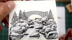Stampscapes 101: Video 138.  Stamp Sketching with the Stone Bridge