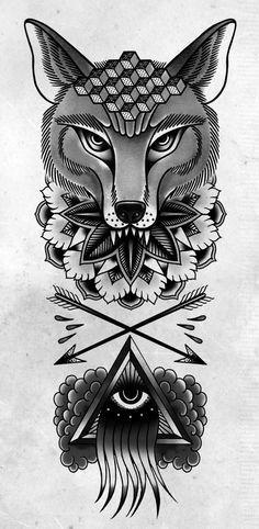 Wolf mamdala iluminati traditional tattoo