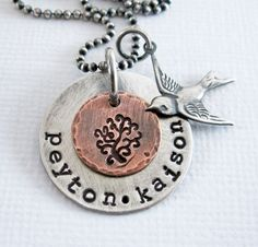 """Mama Bird - Personalized Mother""""s Necklace - Hand Stamped Tree - Swallow Charm - Sterling Silver - Copper"""