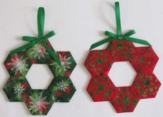 Two Christmas Tree Ornaments, Decorations, English Paper Pieced Hexagons, Green Red These few of Christmas decorations were made using … Quilted Christmas Ornaments, Christmas Patchwork, Ribbon On Christmas Tree, Fabric Ornaments, Noel Christmas, Handmade Christmas, Christmas Decorations, Etsy Christmas, Christmas Quilting Projects