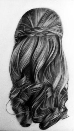 """""""Ensayo de cabellera"""" Técnica carboncillo con grafito"""