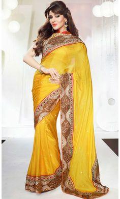 Divine Gold Color Embroidered Saree #SareesforWomen #BollywoodSarees