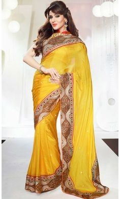 Divine Gold Color Embroidered Saree #Printed-Sari #Sarees-for-Women