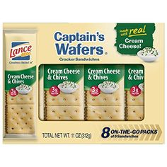 Lance Cream on Captain Wafers Sandwich Crackers, Cheese and Chive, 11 oz: Lance® Cream Cheese & Chives Captain's Wafers® Cracker Sandwiches.brSame great on-the-go packs of 6 sandwiches. Nabisco Oreo, Cheese Cultures, Snack Items, Jalapeno Cheddar, Best Cheese, Snack Recipes, Snacks, Sour Cream And Onion, Peanut Butter Cookies