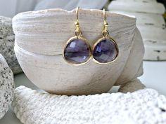Amethyst Earrings,Purple Earrings,Gold Amethsyt Earrings,Amethyst Jewelry,February Birthstone,Beach Wedding,Bridesmaid Earrings,Weddings by LetItBeLove on Etsy